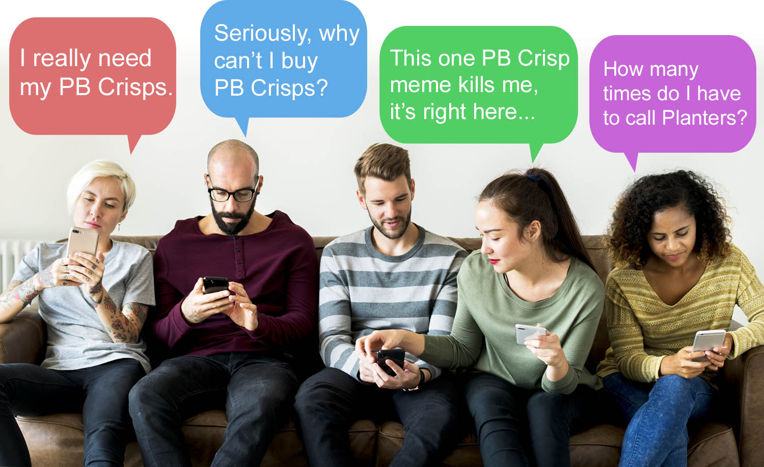 A group of people looking at their phones. Each of them puzzled as to why they cannot purchase PB Crisps.
